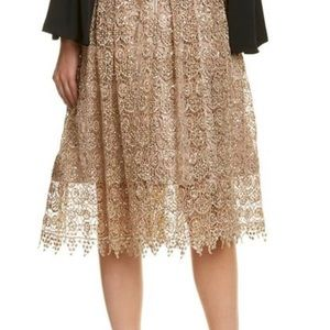 Knee length gold lace Alice & Olivia skirt
